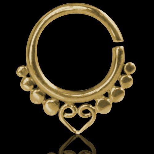 Septum Piercing Orientale da Setto Nasale in Argento Septum Ring Indian Ornamental Silver Gold Ball Heart