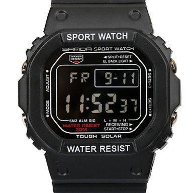 Fenkoo Da uomo Orologio da polso Digitale LCD / Cronografo / Resistente all'acqua / allarme PU Banda Nero Marca-