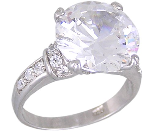 Cubic Zirconia .925 Sterling Silver Rhodium Plated Promise Ring, Size 8