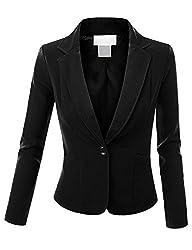 Doublju Women Long Sleeve Cropped Jacket Blazer Plus-size