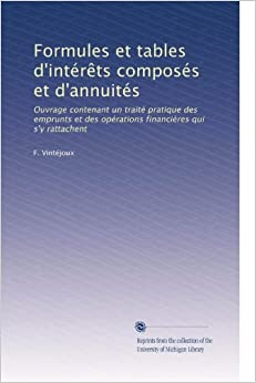 Formules et tables d 39 int r ts compos s et d 39 annuit s Table financiere