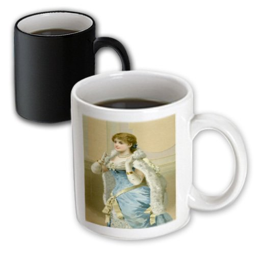 Mug_181082_3 Florene - Victorian Images - Image Of Pretty Lady Dressed Up In White Fur And Blue Dress - Mugs - 11Oz Magic Transforming Mug
