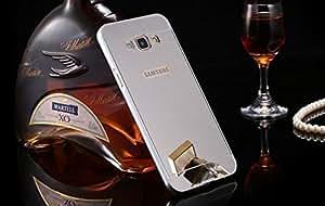 Samsung Galaxy A7 Case Cover, Luxury Metal Bumper + Acrylic Mirror Back Cover Case For Samsung Galaxy A7 - Silver