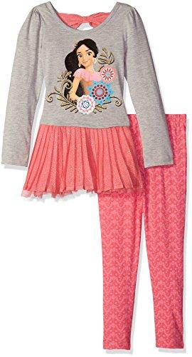 Disney Little Girls' 2 Piece Elena of Avalor Chiffon Tunic and Legging Set, Pink & Grey
