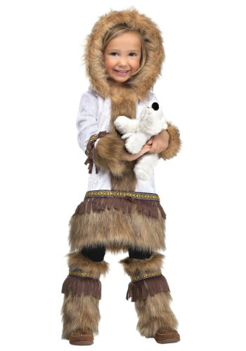Fun World Costumes Baby Girl'S Eskimo Toddler Costume, White/Brown, Small front-930311