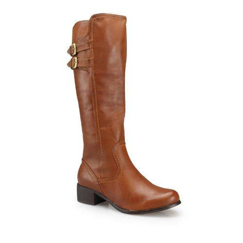 Damen Winterstiefel - Moderne Stiefel mit Schnallen-Applikation in genarbter Leder-Optik camel 37