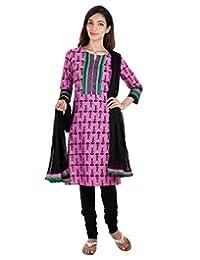 3Pce Suit - Cyclamen Cotton Printed Kurta With Embroidered Yoke, Chudi And Cotton Dupatta