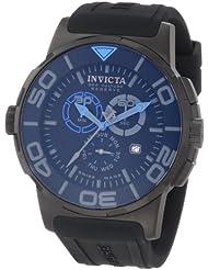 Invicta Men's 1733 Reserve Reserve Chronograph Black Dial Black Polyurethane Watch