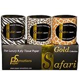 Safari Toilet Paper - Leopard, Giraffe and Zebra design - 3 pcs set