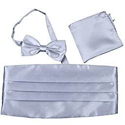 Men\'s Satin Cummerbund Bowtie Pocket Square Hanky Set for Tuxedo Wedding 10 Colors (Silver Gray)