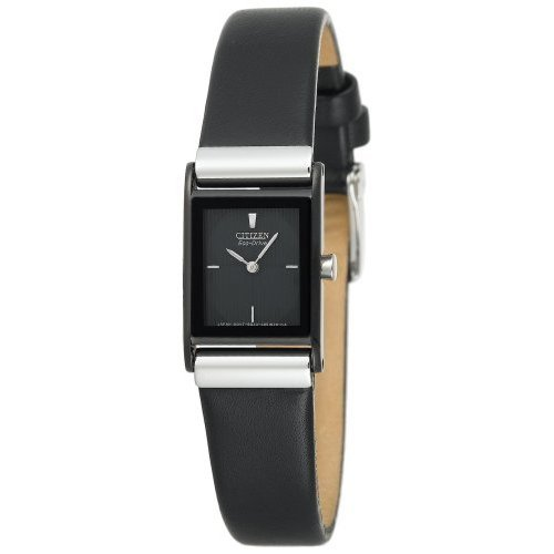 Citizen Women's EW9215-01E Eco-Drive Stainless Steel Watch with Black Leather Band