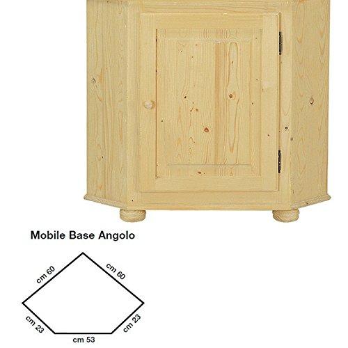 Base angolo vetrina country in legno massello grezzo in abete 60x60x85