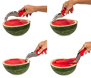 Watermelon Cutter Stainless Steel Melon Slicer Corer Wedger Server-with Silicone Handle-Cantaloupe Honeydew Carving Knife-Summer Fruit Tools-Party Accessories Utensils-for Decoration Display Platters