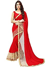 White World Women's Georgette Saree With Blouse Piece