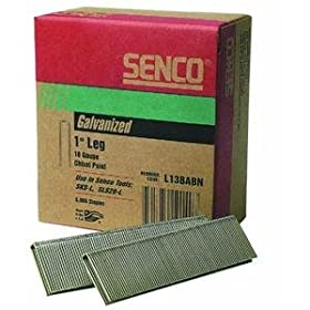 Senco L13BABN 18-Gauge by 1/4-inch Crown by 1-Inch Leg Electro Galvanized Staples, 5000-Per Box