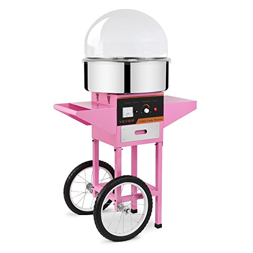 FoodKing Commercial Cotton Candy Machine 1030W for Wedding Party Electric Candy Floss Maker with Cart and Bubble Cover (Cotton Candy Machine Kit) (Cotton Candy Maker Commercial compare prices)