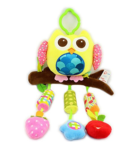 BW Car Stroller Crib Activity Clip on Wind Chime With Rattle Toy For Newborn to Kids Owl