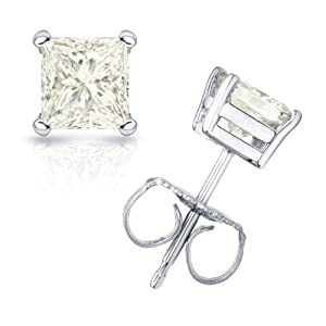 3/4 cttw Princess-Cut Diamond 4-Prong Stud Earrings in 18K White Gold (J-K Color, I2-I3 Clarity)