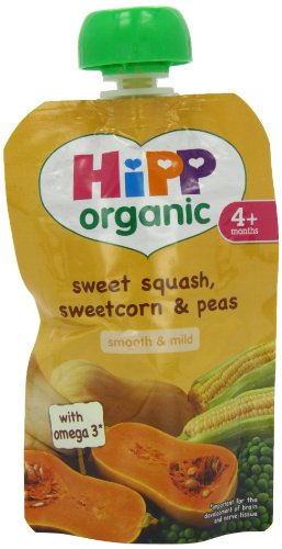 Hipp Organic Sweet Squash/ Sweetcorn/ Peas Pouch Stage 1 from 4 Months 100 g (Pack of 2, Total 10 Pouches)