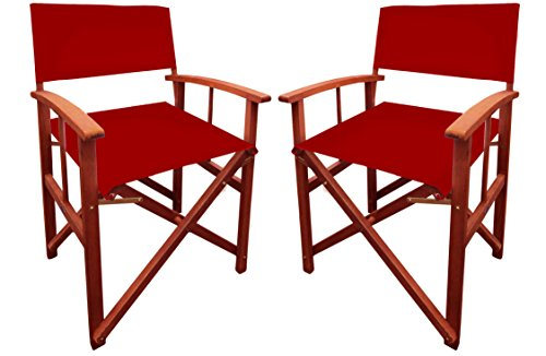 BENTLEY GARDEN BALAU WOODEN TABLE WITH PAIR OF DIRECTORS CHAIRS - RED (MORE COLOURS AVAILABLE)