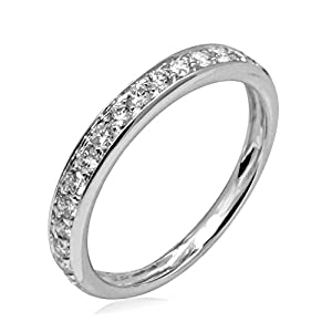 0.4 Carat (ctw) 10K White Gold Round Natural Diamond Wedding Band for Women (Color G-H, Clarity I2-I3)