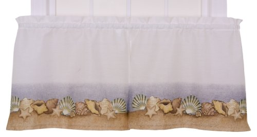 Ellis Curtain Kitchen Collection Sea Shells 60 By 24 Inch Tailored Tier Curtains White