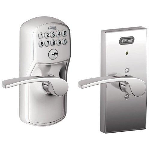 Schlage Fe576 Ply 625 Mer Cen Built-In Alarm, Century Collection Keypad Merano Lever Door Lock, Bright Chrome