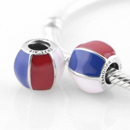 Taotaohas-(1Pc) Enamel Colored Authentic 100% Solid Sterling 925 Silver Threaded Charm Beads, [ Name: Beach Ball ], Fit European Bracelets Necklaces Chains, Troll, Biagi Glass Charm Beads