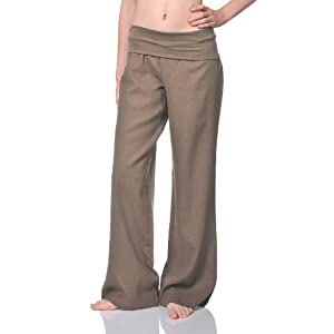 Beachcoco Women's Fold Over Comfortable Wide Linen Pants (S, Taupe)