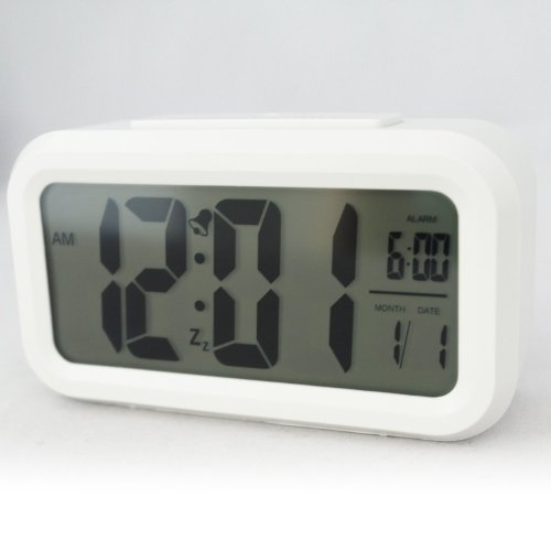 """Eioo(Tm) 5.3"""" Smart, Snooze Light,Simple And Silent Alarm Clock W/ Date Display, Repeating Snooze, Sensor Light + Night Light (White With White Light)"""