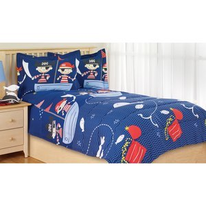 2Pc Boy Blue Red Pirate Down Alternative Twin Comforter Set (2Pc Set)