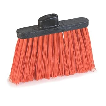 "Carlisle 4108324 Sparta Spectrum Unflagged Duo-Sweep Polyethylene Bristle Angle Broom with 48"" Fiberglass Handle, 54"" Overall Length, 12"" Width"