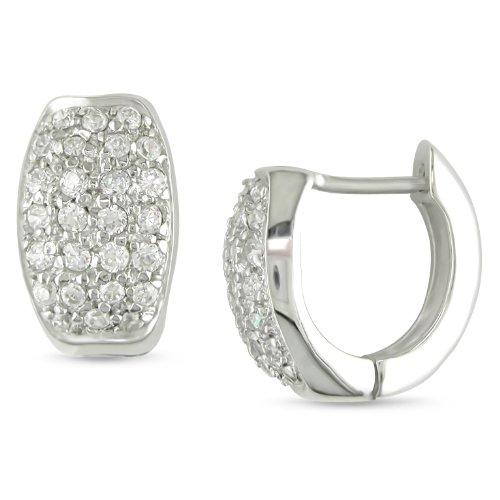 1.4-1.6mm Round CZ Huggie Earrings in Silver