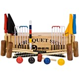 """Garden Croquet Set with Wooden Box - Contains 2 sizes of mallets, 2 x 34"""" and 2 x 38"""". The set also includes 4 wooden balls, 6 steel hoops, a hoop smasher, corner flags, croquet clips and a hardwood centre peg. All in a wooden storage box."""