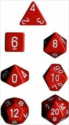 Chessex Manufacturing 25404 Opaque Red With White Polyhedral Dice Set Of 7 - 1