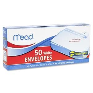 Mead #10 Envelopes, Press-It Seal-It, White, 50/Box  (75024)