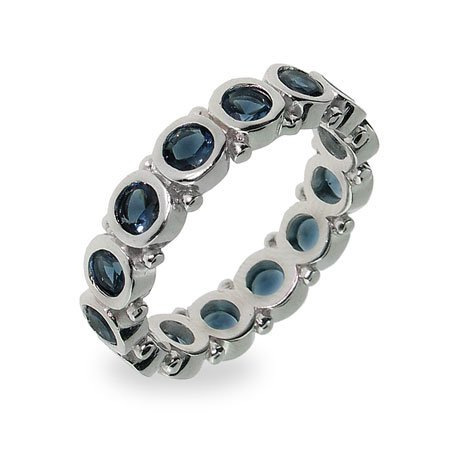 Sterling Silver Bezel Set Sapphire Eternity Band Size 7 (Sizes 5 6 7 8 9 Available)