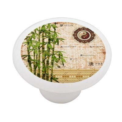 Abstract Bamboo Decorative High Gloss Ceramic Drawer Knob front-1065983