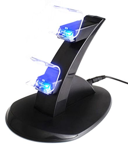 Nuoya001 Usb Led Charging Dock Station Stand For Dual Playstation 4 Ps4 Game Controller (Include A Cycling Reflective Band As Gift)