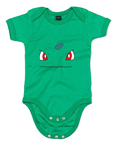 Bulbasaur Face, Printed Baby Grow - Kelly Green/Transfer 3-6 Months front-943501