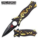 8 Spring Assisted Gold Dragon Folding Knife