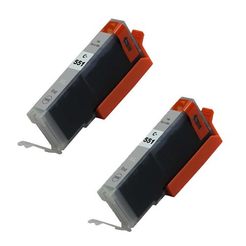 , 2 pcs Grau CLI-551 High Capacity Kompatible Tintenpatronen für Canon Pixma iP8750, MG5550, MG6350, MG6450, MG7150, MG7550, MX925