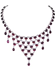 Gehna Oval Shape Red Garnet Gemstone Studded Necklace Made In .925 Sterling Silver