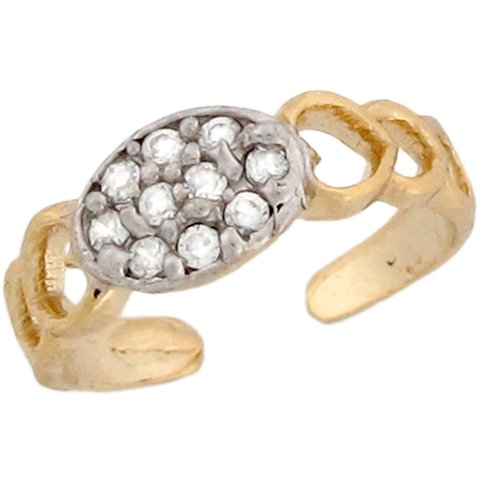 10k Two Toned Real Gold White CZ Funky Unique Designer Ladies Toe Ring