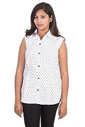 Juee Women's Printed Casual Sleeveless Shirt (JU106SY1SLWHT) (Medium)