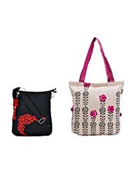 Pick Pocket Combo Of Accure Tote With Black Prints And Pompom Balls With Black Canvas Small Sling Bag
