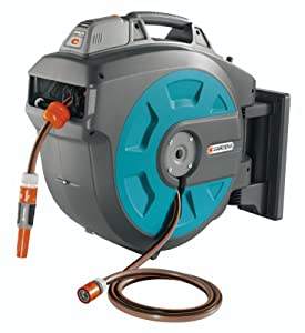 GARDENA 18-volt Lithium Battery Powered Swivel Wall-Mounted Auto Hose Box 35 Roll-Up with 115-Feet of 1/2-Inch Convenient Hose Guide