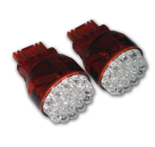Tuningpros Ledfs-3157-R19 Front Signal Led Light Bulbs 3157, 19 Led Red 2-Pc Set