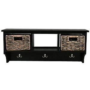 canterbury meuble murale de rangement avec porte manteau et paniers marron noir. Black Bedroom Furniture Sets. Home Design Ideas