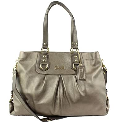 Coach Ashley Metallic Leather Carryall Handbag Steel F15513